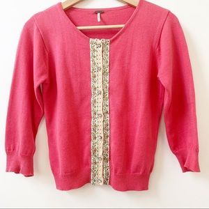 FREE PEOPLE embroidered pink cardigan